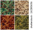 """A classic seamless vector camouflage pattern in four colorways. Repeat size is 6"""". - stock vector"""