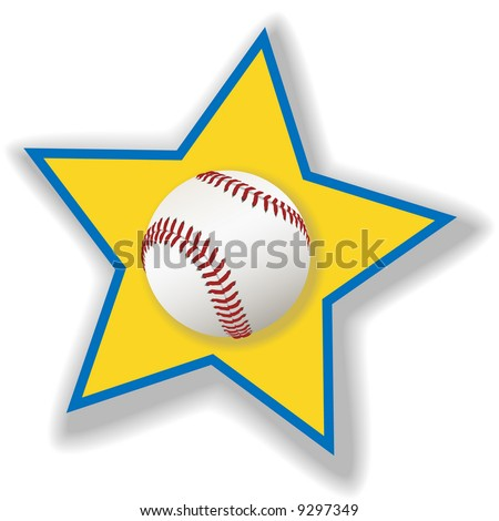 A clean, white baseball or softball on a star background for all star baseball. Sports illustration. - stock vector