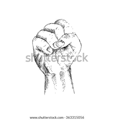 A clenched fist. Hand Drawing illustration. - stock vector
