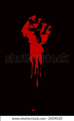 A clenched fist held high in protest. - stock vector