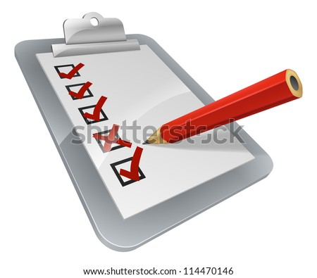 A clipboard with pencil marking on it. A survey, opinion poll, or inspection document - stock vector