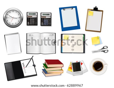 A clock, calculators, notebooks and some office supplies. Vector.