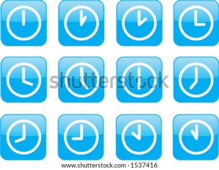 A clock for every hour - stock vector