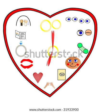A clock showing different phases of love, starting with eying the other person, and ending with marriage - stock vector
