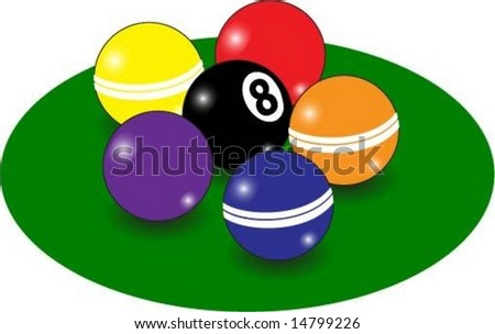 A cluster of pool or billiard balls for background - stock vector