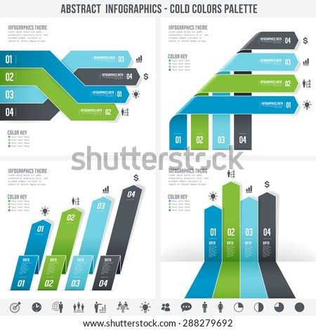 A cold colors set for abstract overlapping infographics banners.  - stock vector