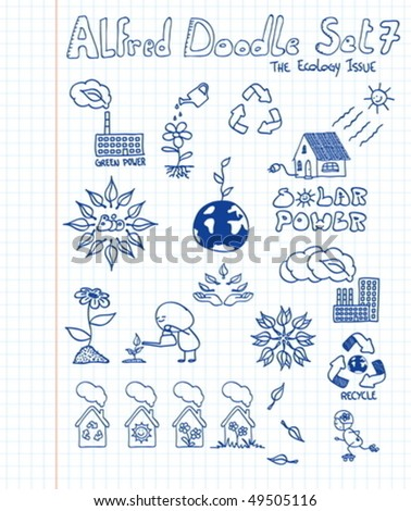 A collection ecology doodles - stock vector