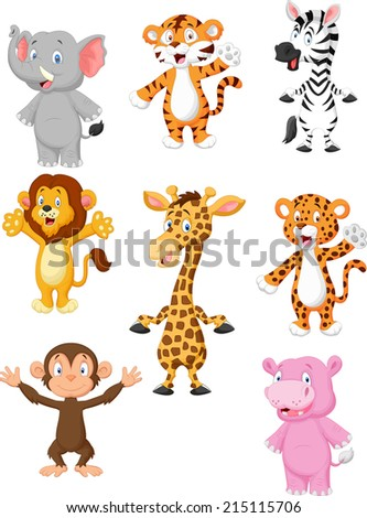 A collection of 8 African animals. - stock vector