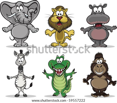 A collection of 6 african animals. - stock vector