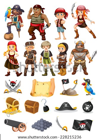 A collection of all things pirate and viking - stock vector