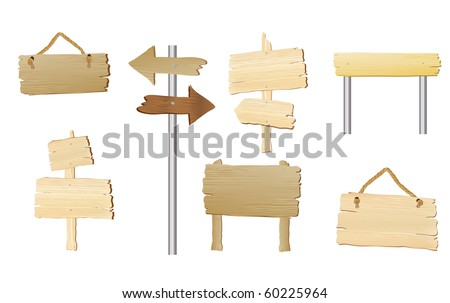 A collection of blank wood signs with space for text. EPS10 vector format. - stock vector