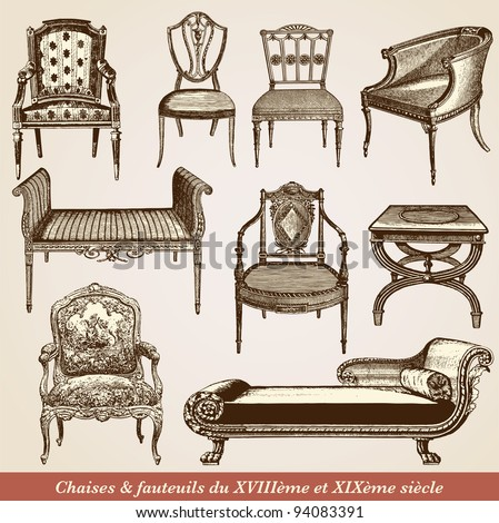 """A collection of chairs - vintage engraved illustration - """"L'industrie et l'art décoratif aux deux derniers siècles"""" ed. Firmin-Didot - Paris - stock vector"""