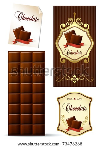 A collection of chocolate design elements - stock vector