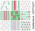 A collection of Christmas wrapping papers, 9 seamless pattern. - stock vector