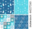A collection of Christmas wrapping papers, 4 seamless pattern. - stock vector