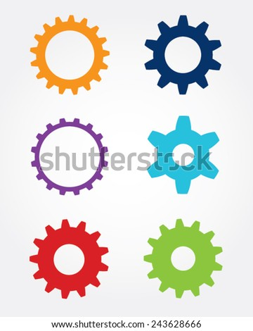 A collection of colorful vector gears and cogs - stock vector