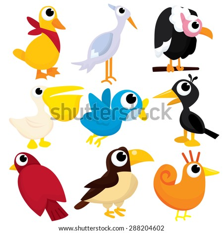 A collection of cute cartoon birds vector illustration.