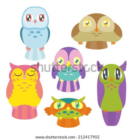 A collection of 6 cute colorful owls of different shapes and sizes. Eps 8 Vector. - stock vector