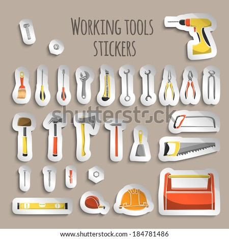 A collection of decorative construction or carpenter tool icons on stickers set illustration - stock vector