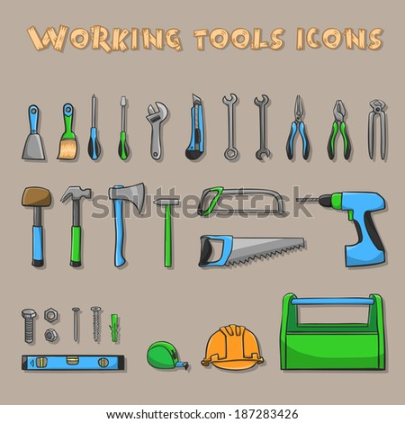 A collection of decorative construction or carpenter tool icons set on beige background vector illustration - stock vector