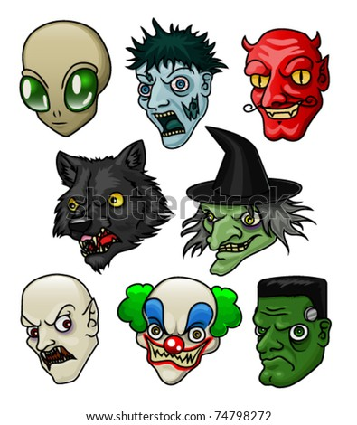 A collection of 8 different halloween monsters and creatures. Vector. - stock vector