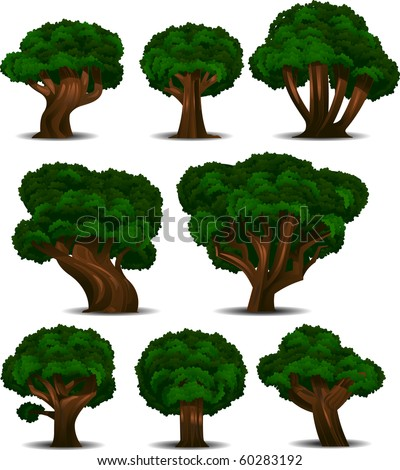 A collection of 8 different trees isolated on white. Separated into layers for easy editing! - stock vector