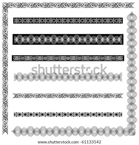 A collection of elegant and exotic frames, vector illustration, black & white. Includes 2 corner borders and 6 stand-alone borders. Perfect for certificates, awards, menus, invitations, etc. - stock vector