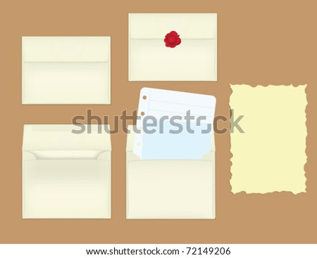 A collection of envelopes, paper, and letters.