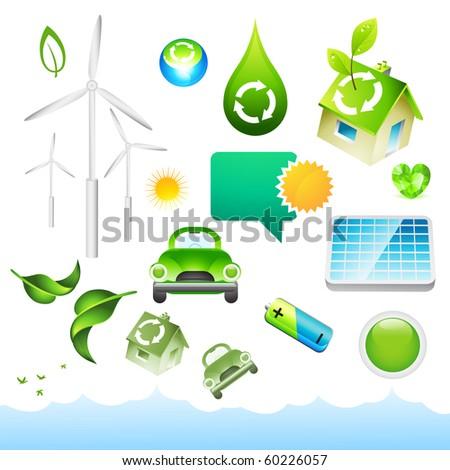 A collection of environmental elements. - stock vector