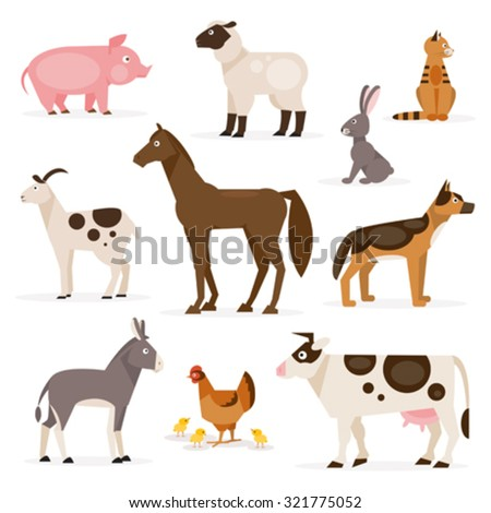 A collection of farm animals on the white background - stock vector