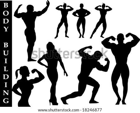 A collection of fitness silhouettes - Check out my portfolio for other collections. - stock vector
