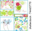 A collection of floral backgrounds: frames, seamless patterns and greeting cards - stock vector