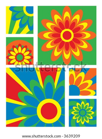 A collection of 6 floral designs in bright colors.