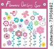 A collection of flowers and spring element's for the design. - stock vector