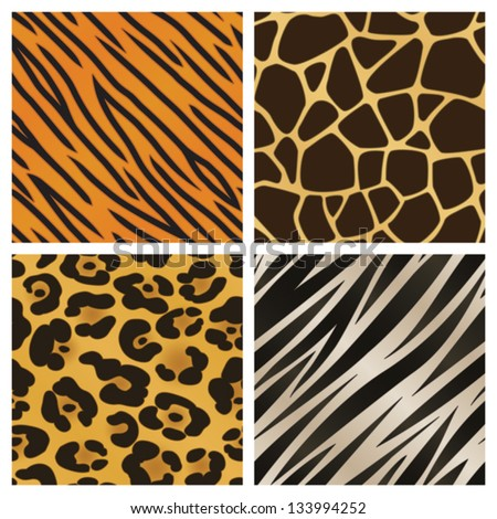 A collection of four different animal print backgrounds. Seamlessly repeatable. Eps 10 Vector. - stock vector