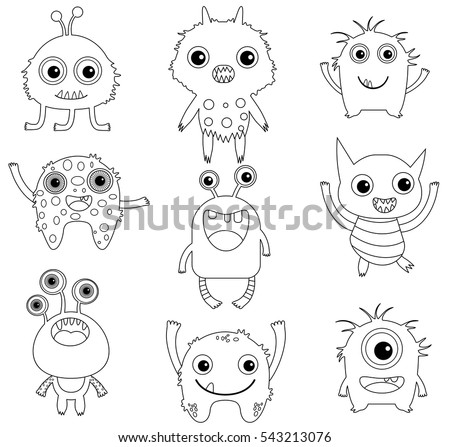 A collection of funny and cute vector monsters or aliens -  black outlines isolated on white for coloring pages or books