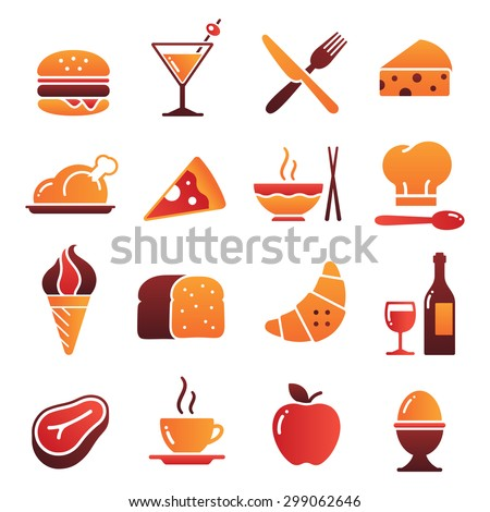A collection of funny Icons regarding all type of foods and drinks - stock vector