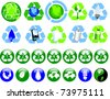 A collection of glossy recycling and ecological icons - stock
