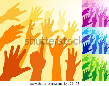 A collection of hands and raised arms shapes - stock vector