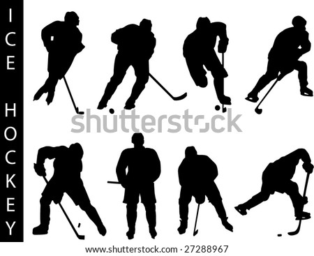 A collection of Hockey silhouettes - Check out my portfolio for other collections. - stock vector