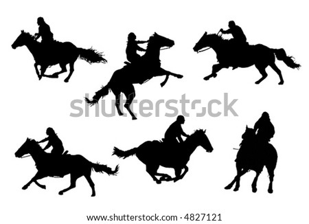 A collection of horsemen / horsewomen vector silhouettes.