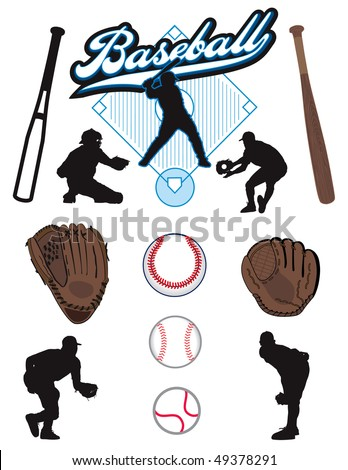 A collection of illustrated baseball elements. Batts, balls, athletes, mitts or gloves - stock vector