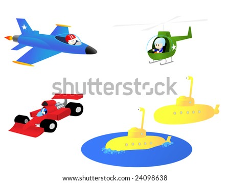 A collection of illustrations that would appeal to boys. - stock vector