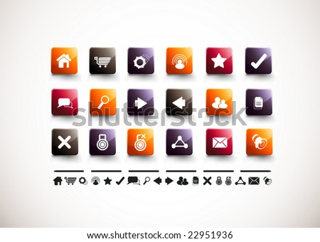 A collection of 18 internet and website icons. - stock vector