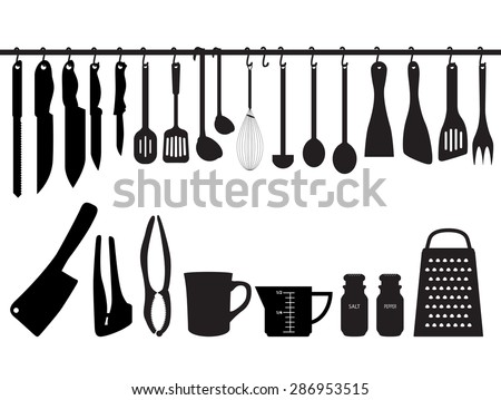 kitchen utensils silhouette vector free.  Vector A Collection Of Kitchen Utensils Hanging On Bar And Under The Bar  Silhouette Illustration Inside Kitchen Utensils Vector Free