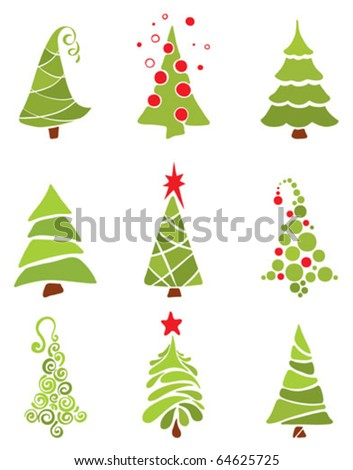 A collection of modern trees - stock vector