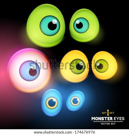 A collection of monster eye sets. Vector illustration. - stock vector