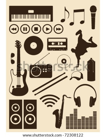 A collection of musical design elements - stock vector