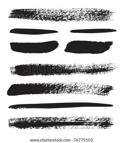 A collection of natural brush strokes - stock vector