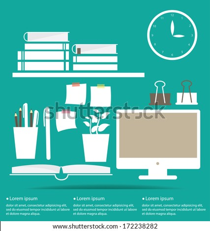 A collection of office related objects - stock vector